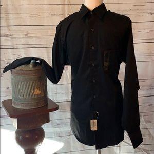 NWT Arrow Men's Black Sateen Dress Shirt